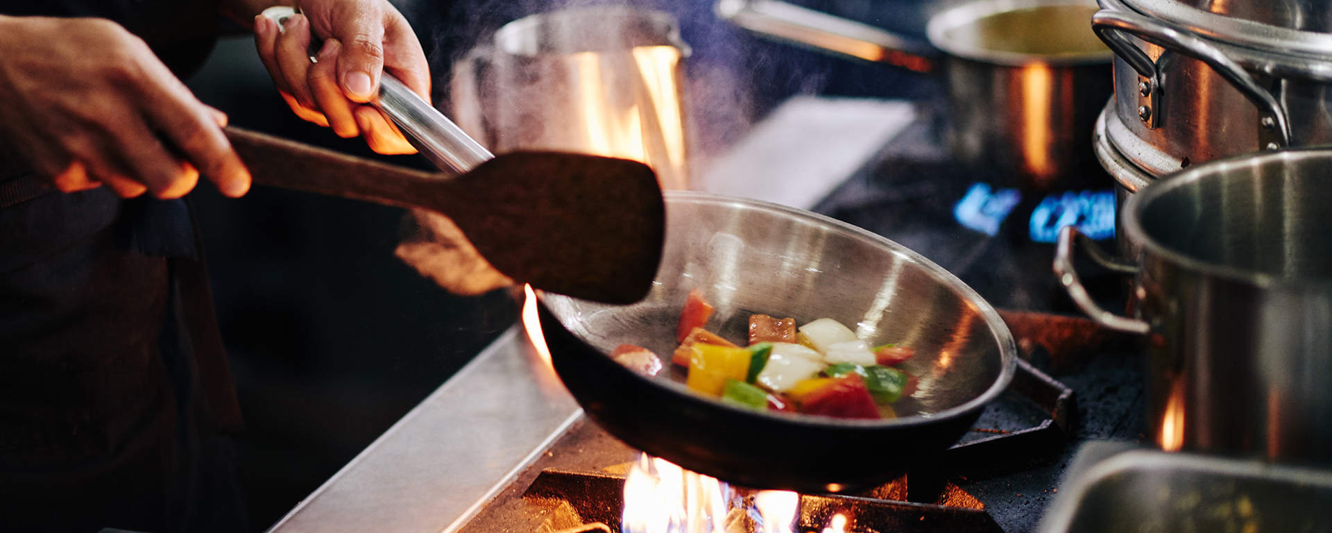 skillet with sauteed vegetables